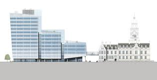 Artists' drawings of the new council buildings - the House that Rouse built