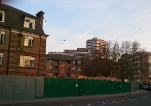 Cherry Orchard Gardens: eight years after demolition work began, no homes have been built on either of side of the road