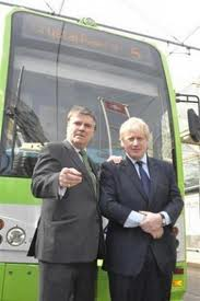 Steve O'Connell with London Mayor Boris Johnson promising a tram link to Crystal Palace in 2012 which has never been delivered