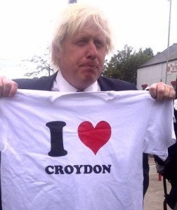 London Mayor Boris Johnson: he is back in Croydon this morning to announce the Westfield-Hammerson deal