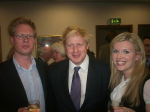 Cheers: Clare Hilley, the Conservative councillor who sat on the Croydon Council planning committees while working as a building industry lobbyist, pictured here with Boris Johnson and her husband, Steven George-Hilley
