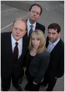 The cast of How the World Wags, Michael Hall, left, Sarah Block, Owen Moore and David Sanders