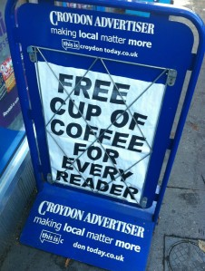 Presumably the Sadvertiser's editor will be making the coffee for each of his readers personally?