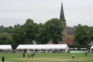 A scene from a bygone era? County cricket in Croydon, with the spire of St Peter's, South Croydon, in the background