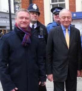 Steve Reed and Ken Livingstone campaign against police cuts earlier in the year