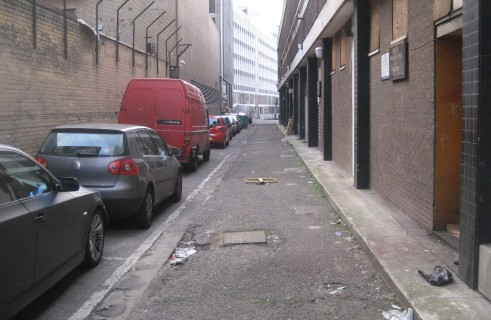 The alleyway behind Davis House where some homeless try to find shelter from the cold winter nights