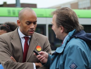 Umanna interviewed by Andrew Pelling for his Croydon Radio show, with trams at the backing music
