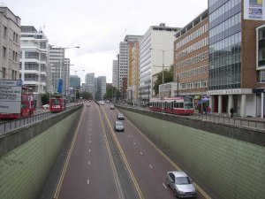 Wellesley Road is the six-lane urban motorway that divides the centre of Croydon