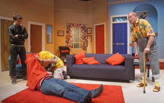 Caught in the door: The Mitre Players' production of Caught in the Net depends on slick timing and entrances and exits through the set's many doors