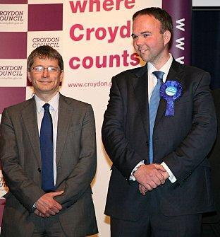 "It says ""Where Croydon Counts"" on the back-drop at the 2010 General Election declaration, yet these two couldn's count when it came to submitting correct expenses accounts: agent Ian Parker with Gavin Barwell MP"