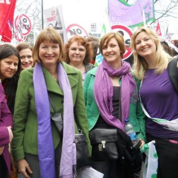 Croydon's new Champion? Nina Champion, far right, on a women's right march with Harriet Harman, the Labour party's deputy leader (and, on the left, Tracey Ullman, among others)