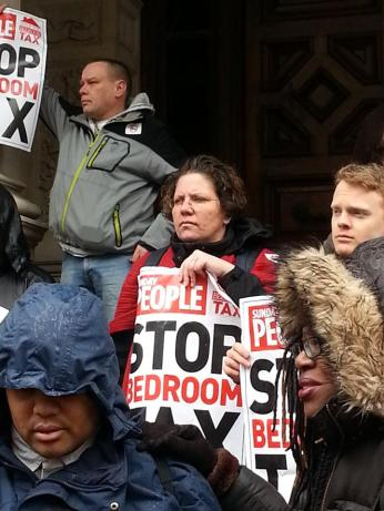 Bedroom Tax protesters in the rain outside Croydon Town Hall today