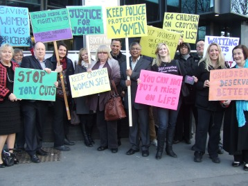 Campaigners protest at the damage cuts are doing to Croydon's Family Justice Centre
