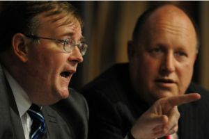"""Battle of the Titans""? Croydon's politicians are led by Mike Fisher, left, and Tony Newman"