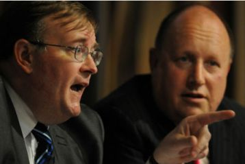 Croydon Tories' leader Mike Fisher, left, is accused of trying to bribe the electorate with their own money by Labour leader Tony Newman