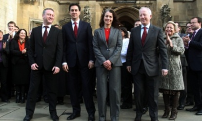 100 days ago: Steve Reed, left, was welcomed to Westminster as a new MP 100 days ago by Labour leader Ed Miliband together with Sarah Champion and Andy McDonald,