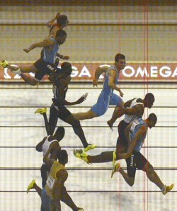 Nothing to choose between them: the official photo-finish from the 60m final in Gothenburg shows how close Croydon Harrier James Dasaolu came to gold