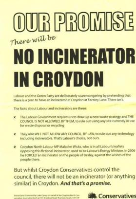 Croydon Tories' incinerator pledge from 2010: not worth the paper it was printed on