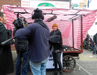Lights, cameras, inaction: Mary Portas filming in a street market, though not Croydon's Surrey Street. Photo by Helen Augustine