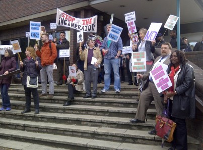 Opponents to the Viridor incinerator outside Sutton Civic Centre last night: not that their views were listened to at all