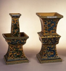Going, going, gone... Two items from the Riesco Collection, a Zun-shaped flower vase decorated in enamels