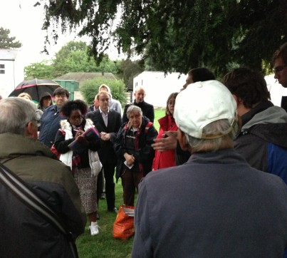 Local action: nearly 50 residents met in the rain in Ashburton Park last night
