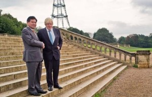 London Mayor Boris Johnson with Chinese industrialist Ni Zhaoxing on the steps of Paxton's original Crystal Palace in October 2013. Talks had already been going on over the scheme in secret for two years