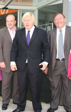 """Florid-faced: Mike Fisher, right, basks in some reflected glory during a recent visit to Croydon by Boris Johnson, together with a another local Conservative lacky, Simon """"I'm Cheap But I'm Not Free"""" Hoar. Only one of these men is on the long list of Tory candidates in Croydon South"""