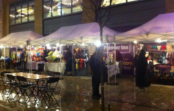 Not the most inviting of scenes? Few people chose to brave the weather to sample the Connected Croydon festival