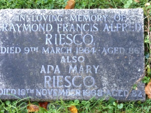 The grave stone of Raymond Riesco, in St Mary's churchyard, Addington. Locals have reported hearing a spinning sound coming from the vicinity in recent weeks after the council flogged part of his porcelain collection