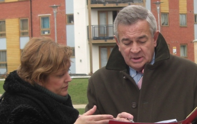 On the campaign trail: Alison Butler working with the late and much-missed Malcolm Wicks MP