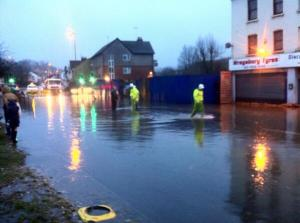 The flooding on the A22 Godstone Road on Thursday