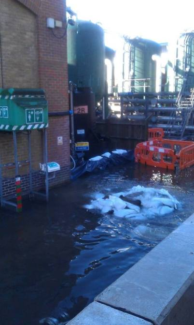 Inside the water treatment works, off the Godstone Road, and water levels have continued to rise over the weekend