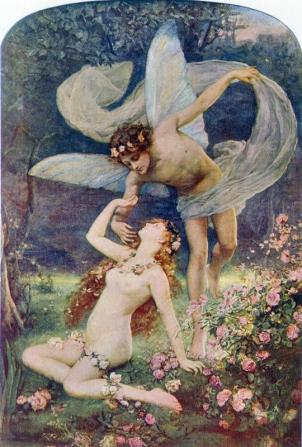 Zephyrus wooing Flora, a painting typical of much of Henrietta Rae's work, which will be discussed at the next Norwood Society talk