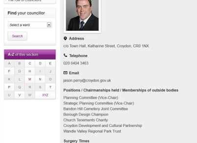 Jason Perry's Croydon Council profile: no mention at all of his business directorships. Can you suggest why that might be?