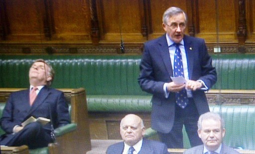 "It's a hard life as a backbencher: ""Sir"" Tricky Dicky Ottaway, left, in the House of Commons. Is he asleep? or just ""resting his eyes""?"