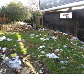 How the rubbish-strewn patch of ground looked before Sunday's clear-up by Crystal Palace Transition Town