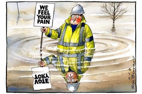 How Peter Brookes saw politicians' interventions in the floods crisis in The Times last month