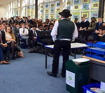 George Galloway MP addressing pupils at a local school earlier this month