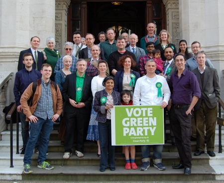 Some of the Green Party's local election candidates on the steps of the Town Hall yesterday. Will this be as close as they get?