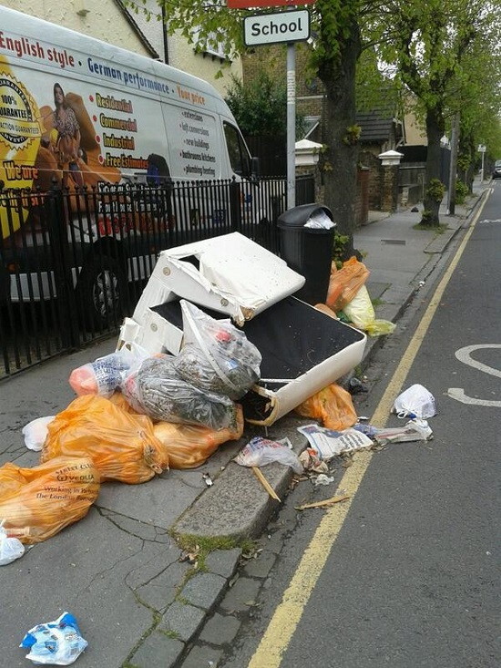 Rubbish dumped close to a school in Selhurst, April 21 2014