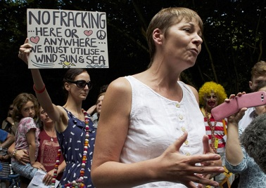 MP Caroline Lucas at an anti-fracking protest in Sussex in 2013: today, she's speaking in Croydon