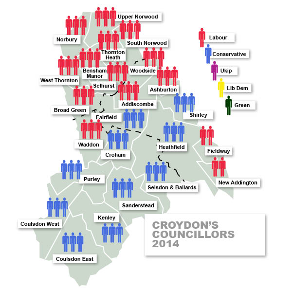 How the wards of Croydon are represented by councillors since last Thursday