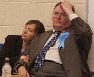 The then Tory council leader Mike Fisher captured on election night last May: for him, his problems had only just begun...