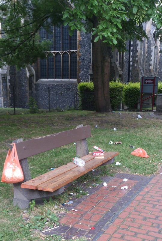 The scene outside Croydon Minster on a summer Sunday in 2014