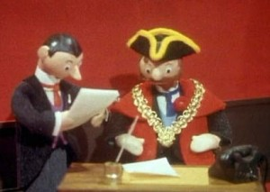 An entirely accurate re-enactment of past Croydon Mayor Makings, as will be repeated at the Town Hall tomorrow night