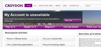 "How the council website appeared this morning. ""We expect it to be up and running within the next few days"" it said, above a notice encouraging residents to ""Do It Online"""