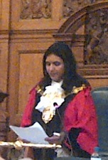 Croydon's new mayor, Manjo. Among her first tasks was to apologise for the shambolic running of the ceremony