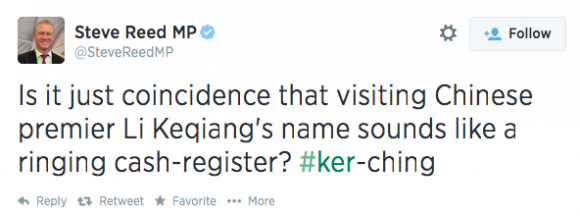 Steve Reed China Tweet