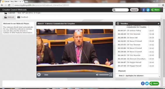 Croydon Council's first webcast meeting for nearly eight years, starring Tony Newman